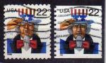 É-U.A / USA 1998 & 1999 - Oncle/Uncle Sam - YT 2829 & 2961 / Sc 3259 & 3353 °